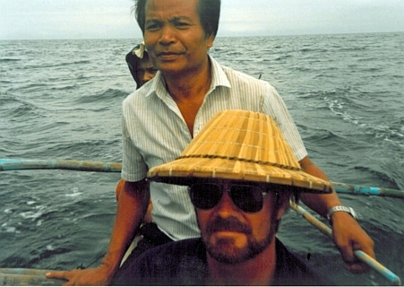 Dr. Timothy Austin in a Canoe in the Philippines
